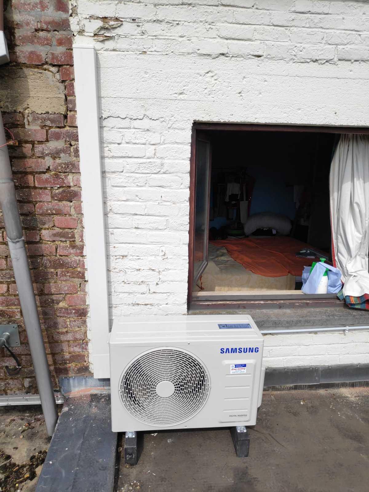 Realisatie Samsung single split warmtepomp te Wetteren 2