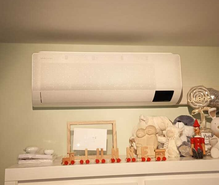 Realisatie Samsung multisplit warmtepomp met 2 binnenunits wind free Comfort te Bambosstraat in Lede