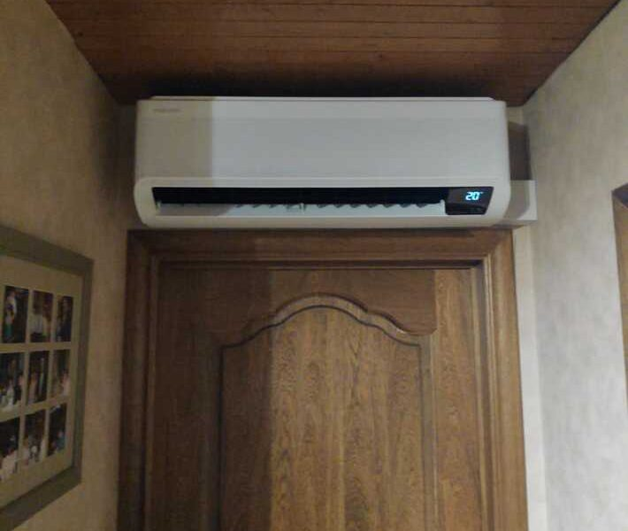 Realisatie Samsung multisplit warmtepomp met 2 binnenunits wind free Comfort te Hollestraat in Lede