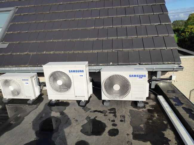 Realisatie Samsung multisplit warmtepomp met 2 binnenunits wind free Comfort te Lede