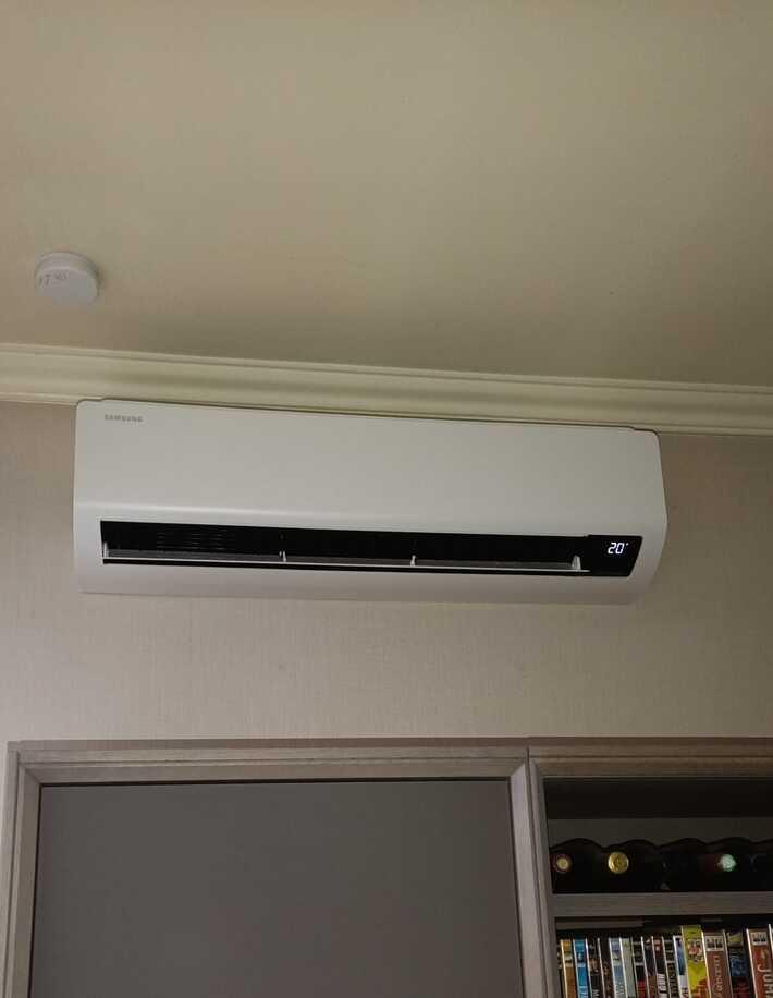 Realisatie Samsung multisplit aircowarmtepomp met 3 Luzon binnenunits te Hofstade