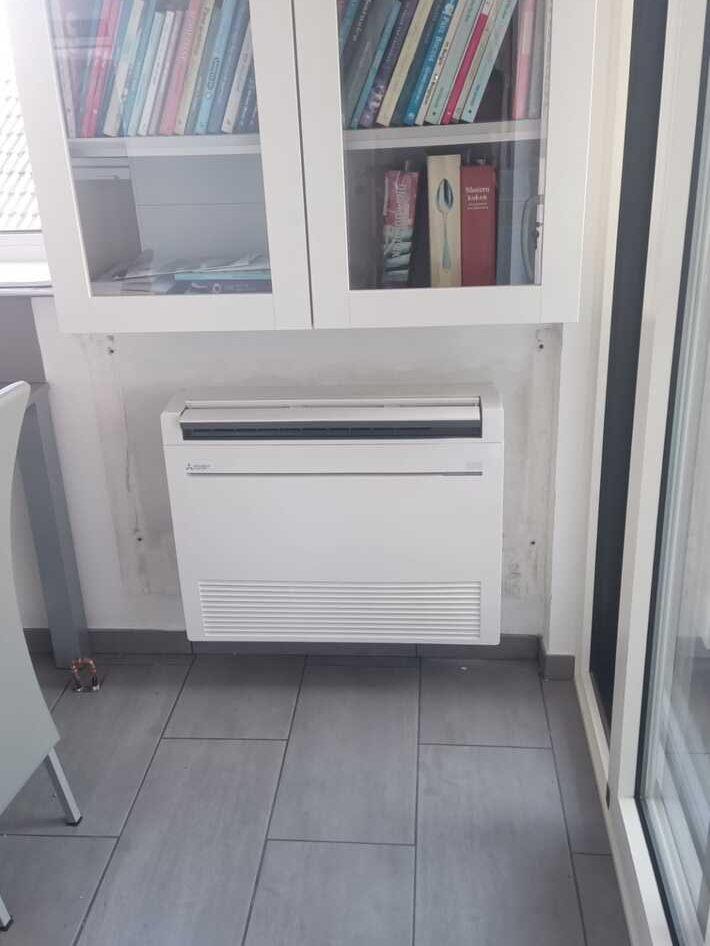 Realisatie Mitsubishi multisplit aircowarmtepomp met 3 binnenunits te Ninove