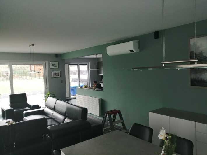 Realisatie Samsung multisplit airco/warmtepomp met 4 binnenunits Wind Free Comfort Sint-Katherina-Lombeek