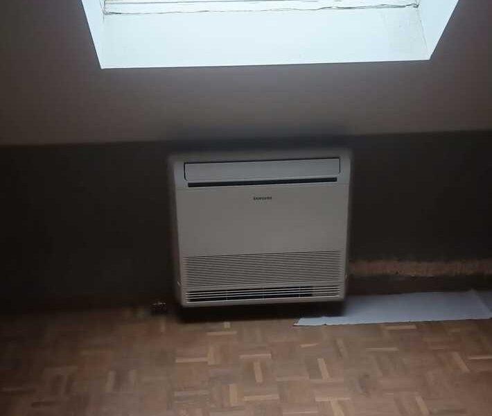 Realisatie Samsung multisplit airco/warmtepomp met 2 binnenunits wind free Comfort + vloermodel te Aalst