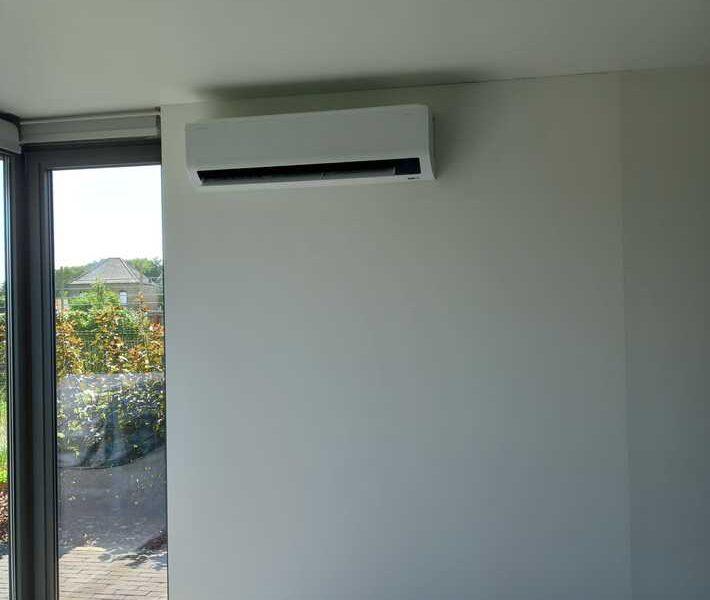 Realisatie Samsung multisplit airco/warmtepomp met 3 binnenunits Wind Free Comfort + Elite te Denderhoutem