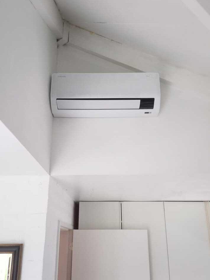 Realisatie Samsung multisplit aircowarmtepomp met 4 binnenunits Wind Free Comfort + CEBU + LUZON te Merelbeke