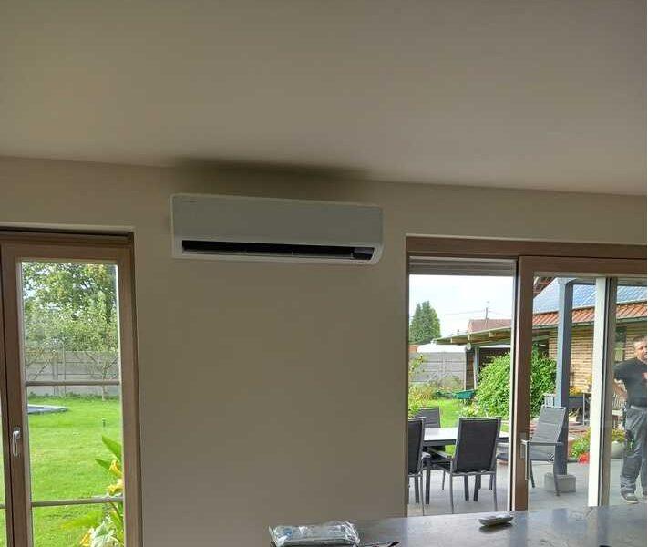 Realisatie Samsung multisplit airco/warmtepomp met 4 binnenunits Wind Free Comfort + Elite te Moorsel